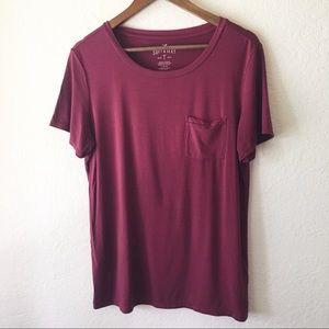 AEO Soft & Sexy Burgundy Tee Pocket L Red Short